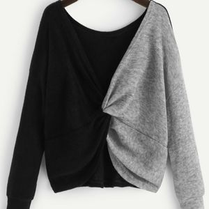 SHEIN short two toned twist front sweater